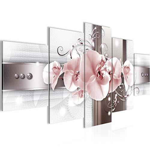 Runa Art - Bilder Blumen Orchidee 200 x 100 cm 5 Teilig XXL Wanddekoration Design Grau Rosa 008351b