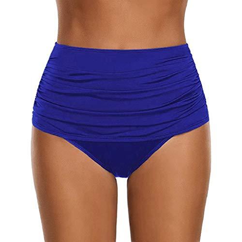 Trajes de baño Mujer SHOBDW Talle Alto Nadar Abajo Tanga Fruncido Tankini Pantalones Cortos De Chico Bragas Señoras Talla Extra Pantalones De Natacion Una Pieza Ropa de Playa Bañadores(Azul,L)