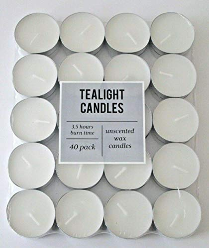 1st CHOICE - Unscented Tea Lights Candles - 40 Pack T-Lights