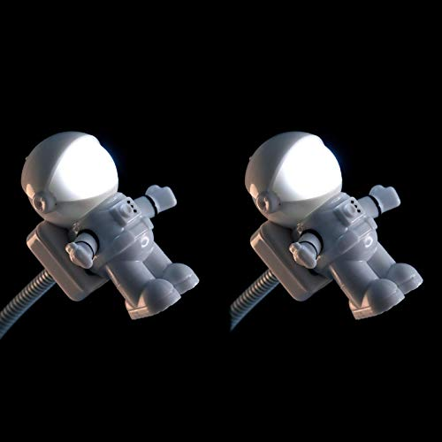 NVTED 2 PCS USB LED Reading Light Lamp, Creative Spaceman Astronaut Eye-Care Flexible USB Light LED Laptop Lamp On/Off Switch for Notebook Laptop, Desktop, PC and MAC Computer