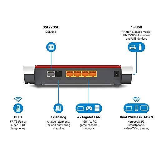 AVM FRITZ!Box 7530 High-End WLAN AC+N Router (DSL/VDSL, 866MBit/s (5GHz) und 400MBit/s (2,4GHz), bis zu 300Mbit/s durch VDSL-Supervectoring 35b, DECT-Basis, Media Server, internationale Version)