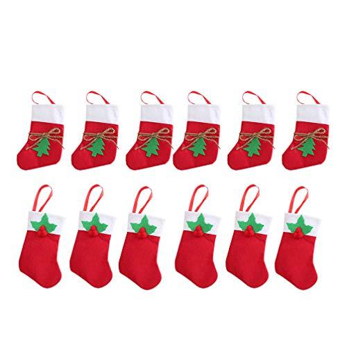 Amosfun, sacchetti regalo per calze natalizie, per albero di Natale, per contenere posate natalizie o dolciumi, per casa, per Natale e le Feste 12 pezzi