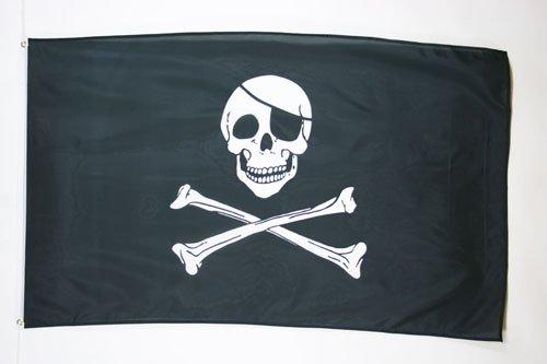 AZ FLAG Drapeau Pirate tête de Mort 150x90cm - Drapeau Corsaire 90 x 150 cm Polyester léger