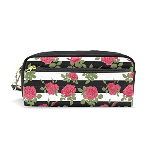Fleur Rouge Roses Motif avec Des Rayures Horizontales Portable PU Étui à Crayon En Cuir École Stylo Sacs Étui Poche Fixe Maquillage Sac De Cosmétique Grande Capacité