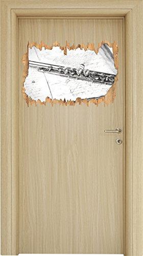 Stil.Zeit Querflöte Kohle Effekt Holzdurchbruch im 3D-Look, Wand- oder Türaufkleber Format: 62x42cm, Wandsticker, Wandtattoo, Wanddekoration