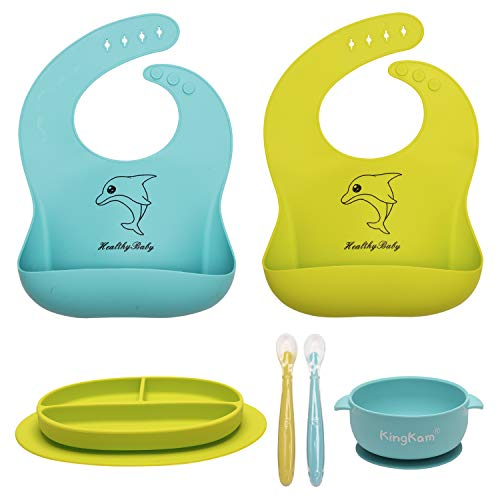 Baby Feeding Set - Silicone Bib Plate Bowl Spoons FDA Approved- Suction Toddler Plate Bowl Self Feeding - Soft Waterproof Bib Easily Wipe Clean - Dishwasher & Microwave Safe - Best Baby Registry Gift