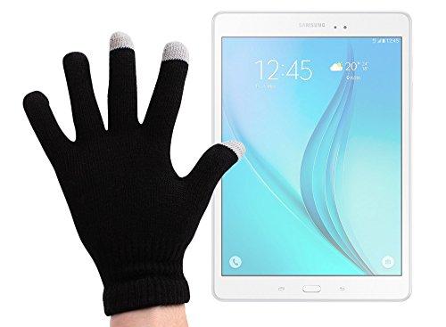 DURAGADGET Guantes Negros para Pantalla Táctil para Tablet Samsung Galaxy Tab A 9.7 SM-T550 / S2 9.7' / E 9.6' T560 - Talla Grande - ¡Ideales para El Invierno
