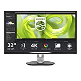 Philips 328P6VJEB/00 80 cm (31,5 Zoll) Monitor (DVI, Displayport, VA Panel, 4x USB, 3840 x 2160, 60 Hz, 4 ms, Pivot) schwarz