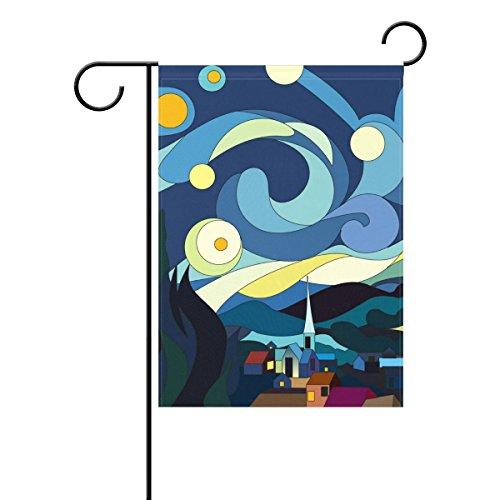 Bennigiry Art étoile Nuit Ville Lune décoratif Welcome coloré mulitcolor lumineux mignon Jardin Drapeau, Polyester filé, multicolore, 28x40(in)
