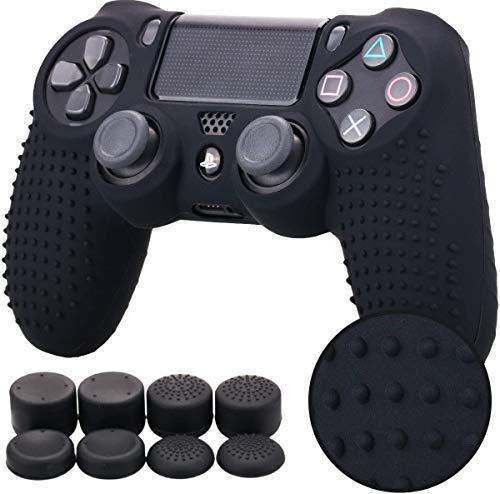 YoRHa Studded Silikon Hülle Abdeckungs Haut Kasten für Sony PS4/slim/Pro Controller x 1 (schwarz) Mit Pro aufsätze thumb grips x 8