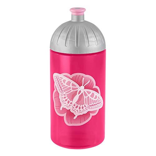 Step by Step - Borraccia 'Natural Butterfly' rosa a prova di perdite, lavabile in lavastoviglie, senza BPA, per la scuola, l'asilo, bevande calde e gassate, 0,5 litri