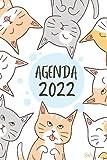 Agenda 2022 Gato: Semana vista   Contactos , mis contraseñas , objetivos , lista de tareas , notas , ...   2 páginas = 1 semana  Regalo mujer hombre familia y amigos