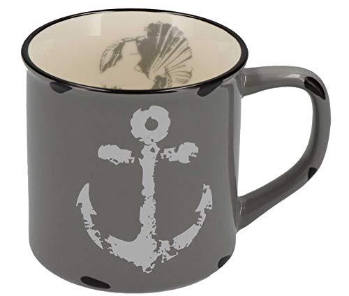 Tony Brown Maritime Porzellan Kaffeebecher mit Sprüchen und Motiven von Nordsee und Ostsee (500ml, Grau)