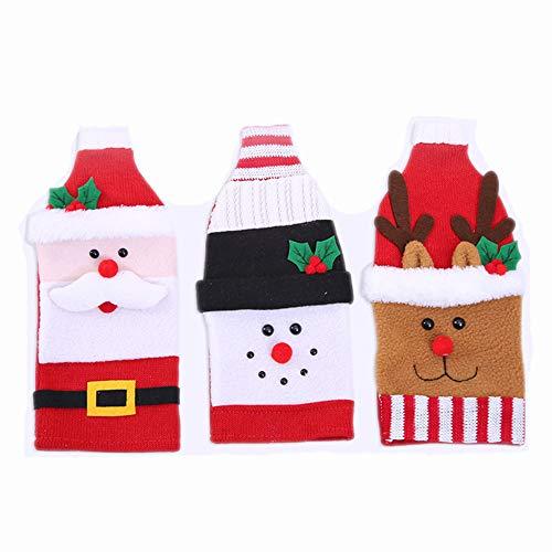Paquete de 3 fundas para botellas de vino navideñas, muñeco de nieve de dibujos animados de Papá Noel, bolsas tejidas para botellas, gorra para fiesta de Navidad, decoración de año nuevo, regalo