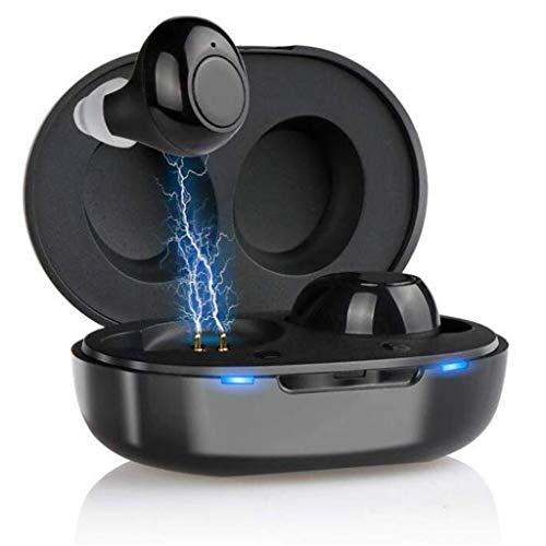 Geluidsversterkers, 1 paar van hoorapparaten, met draagbare USB-laadkoffer, regelbaar volume, helder geluid, geschikt for slechthorenden, Bluetooth verschijning
