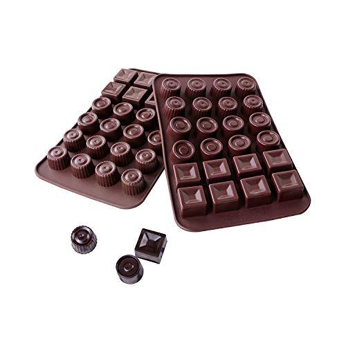 webake Schokoladenform 2er Set Silikon Schokolade Formen Antihaftbeschichtung Silikonform Pralinenformen Eiswürfel Form