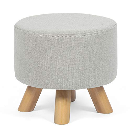 Asense Round Ottoman Foot Rest Stool Linen Fabric Padded Seat Pouf Ottoman with Non-Skid Wooden Legs