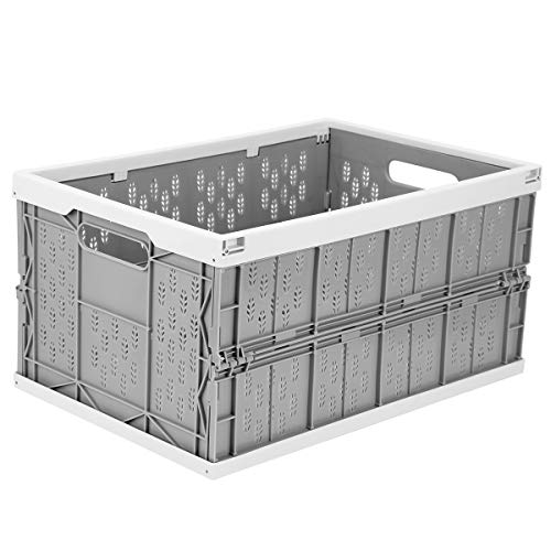 Livememory Collapsible Storage Crate, Plastic Folding Storage Box Stackable for Home, Laundry, Clothes, 31 Liters (45cm x 30cm x 23.5cm)