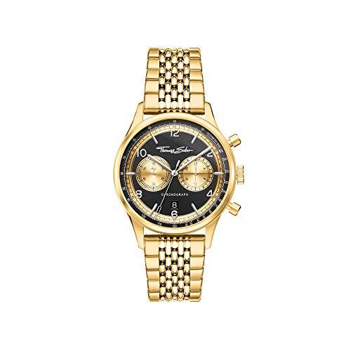 THOMAS SABO Rebel at Heart WA0376-264-203 - Orologio da uomo con cronografo, in acciaio INOX, colore: oro nero