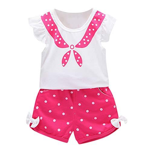 2PC//Conjuntos Ropa Bebe Ni/ña Verano Fossen para Recien Nacido 1 a 3 a/ño Pantalones Cortos con Nudos Camisetas De Manga Corta con Estampado De Estrellas