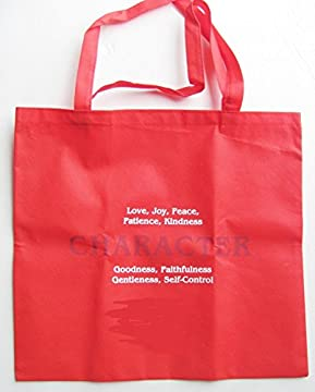 Red Large Reusable Nylon Grocery Tote Bag