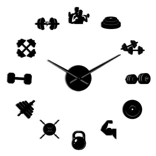 WAWD DIY Wall Clock Silent Acrylic Mirror Effect Sports Fitness Equipment Wall Hanging Art Sticker Fitness Dumbbell Wall Clock Large Wall Table Exercise Trainer Gift
