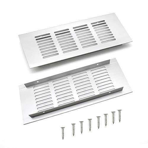 WJUAN 2 Piezas Rejilla de Ventilación Plata, Rejilla de Ventilación Rectangular de 200 mm Para Ventilación de Armarios y Dormitorios