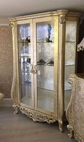 Casa Padrino Vitrina Barroco de Lujo Oro Antiguo 135 x 53 x A. 203 cm - Magnífica Vitrina de Madera Maciza en Estilo Barroco - Muebles Barrocos
