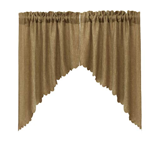 VORTTA Burlap Look Swag Curtains Soft Half Window Rustic Natural Tan Kitchen Curtains Valance and Swags 36 inch Length, 2 Panels