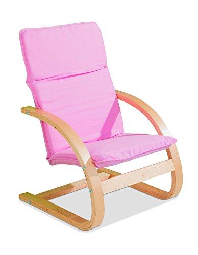 Home4You Kindersessel Kinderstuhl Freischwinger | Pink | Holz | Baumwolle | Sitzhöhe 28 cm