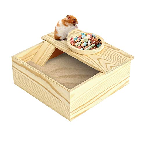 Wooden Small Pets Sand Bath Box with Tiny Pet Bowl- 7.7' x 7.7' Assemble Hamsters Shower & Digging Sand Bathtub with Stairs Rat Hideout Sand Bath Container for Lemming Chinchilla Gerbil Little Animal