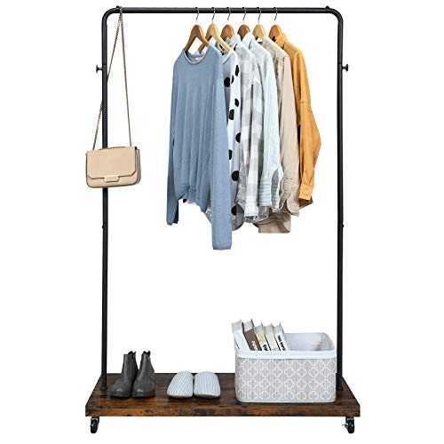Tangkula Industrial Pipe Style Rolling Garment Rack Clothes Rack with Wood Shelf, Heavy Duty 2 in 1 Clothes Stand Rack with Lockable Casters, Anti-Slip Stoppers for Laundry Room (Black & Rustic Brown)