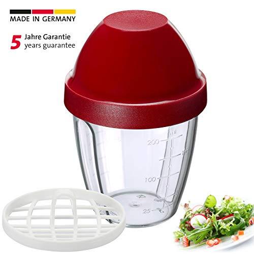 Westmark Mini-Dressingshaker, Schüttelbecher, Mit herausnehmbarer Mixscheibe, Füllvolumen: 0,25 Liter, Kunststoff, Mix-Ei, Rot/Transparent, 30892270