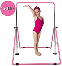 DOBESTS Gymnastics Bar for Kids Gymnastics Equipment for Home Folding Junior Training Bar Expandable Kip Bar for 3-7 Years Old Children