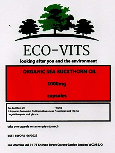 Organic Sea Buckthorn Oil 1000mg 365 Capsules Rich in Omega 7 Hair Skin