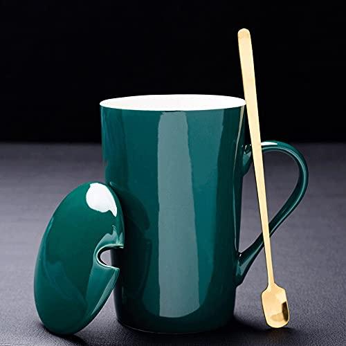 A-myt Misterioso y Delicado China La Nueva Taza de Modelo de cerámica del Hueso de China con par de Pares de los Pares de la Cuchara de la Cuchara (Color : B)