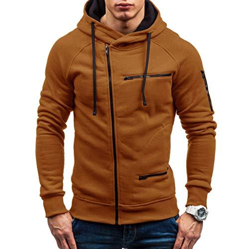 Zip Kapuzenpullover Herren Pullover für Herren, Holeider Basic Kapuzen-Sweatshirt Langarm Herbst Winter Zipper Hoodie für Männer Mode Casual Einfarbig Streetwear Kapuzensweater