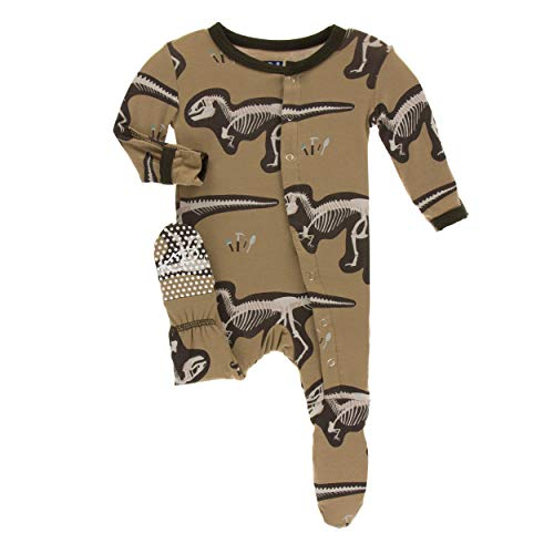 KicKee Pants Little Boys Print Footie with Snaps - Tannin T-Rex Dig, 9-12 Months