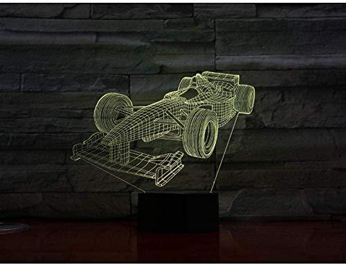 Formule 1 raceauto, 3D-lamp, meerkleurig met afstandsbediening, voor verjaardagscadeau, werkt op batterijen, 3D optisch led-nachtlampje, hologram-lamp