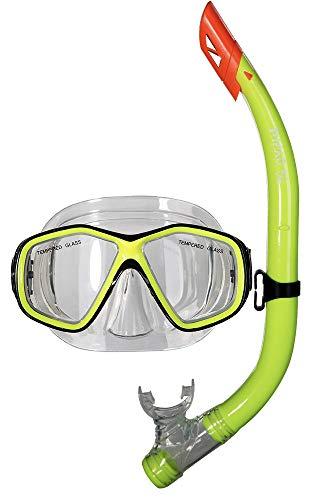 PiNAO Sports - Tauchset für Kinder, Neon-Gelb (52011) [Tauchermaske, Tauchen, Schnorchel, aus Liquid Silikon, Schnorchelset, Schnorcheln, Kinderschnorchel]