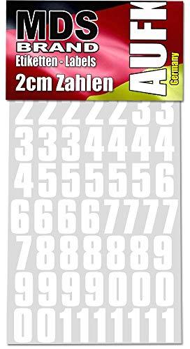 MDS Brand 2cm Klebezahlen - 208 Stück - Weiss Selbstklebend Aufkleber Peel(2cm, Weiss)