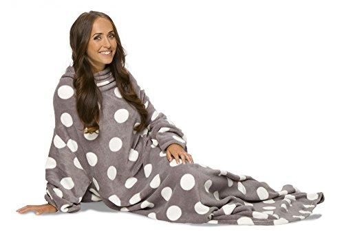 Mia Cossotta - Kuscheldecke mit Ärmeln aus weichem Coralfleece -TV Decke, Farbe:grau