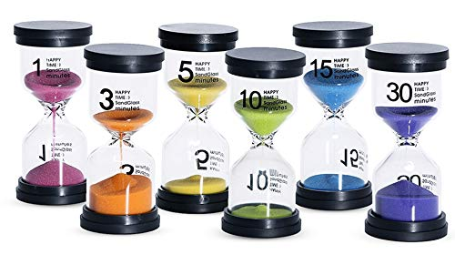 KSM UP Sand Timer 6 Colors Hourglass 1/3/5/10/15/30 Minutes Sandglass Timer Sand Clock for Kids Games Classroom Kitchen Home Office Decoration (Pack of 6)