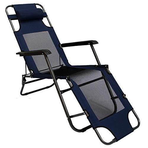 AMANKA Chaise Longue Pliable pour Camping et Jardin Transat Inclinables avec Repose-tête Couleur Bleu foncé Structure en Acier Poids Max. supporté 100 kg 178cm