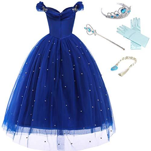 LOBTY Cinderella Kostüm Mädchen Prinzessin Erwachsene Kleid Schmetterling Karneval Verkleidung Party Cosplay Faschingskostüm Festkleid Weinachten Halloween Fest Kleid, Blau mit Zubehör, 140