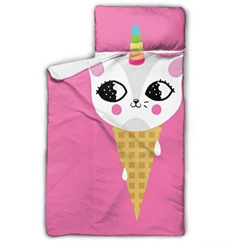 N\A Niedliche Eiscreme Katze Cartoon Schlafsäcke für Kinder Schlafsack für Kinder mit Decke und Kissen Rollup Design ideal für Kinder im Vorschulalter Kindertagesstätten Übernachtungen 50