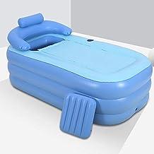JFSKD Piscinas hinchables, Bañera Inflable Doble, bañera Gruesa Plegable, Piscinas hinchables Infantiles, airbag Independiente en Capas 62.9 * 33 * 25 Pulgadas,Azul,Bubble Bottom