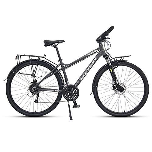 WYZQ Bicicleta De Carretera De 27.5 Pulgadas Y 27 Velocidades, Bicicleta De Viaje Ligera con Marco De Aleación De Aluminio, Freno De Disco Hidráulico, Bicicleta para Adultos,Men's Gray