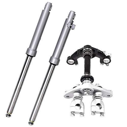 Fuerduo Front Forks Suspension Shocks with Triple Tree Handlebar Riser Clamp Kit for CRF50 70cc 90cc 110cc Dirt Bike Drum Brake