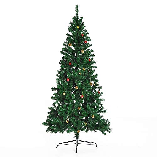 HOMCOM Árbol de Navidad + Decoracion INCLUIDA Pino Abeto Diametro 80x180 cm 624 Ramas PVC Verde